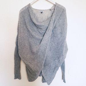 3 Sisters Designer Lagenlook Draped Gray Sweater